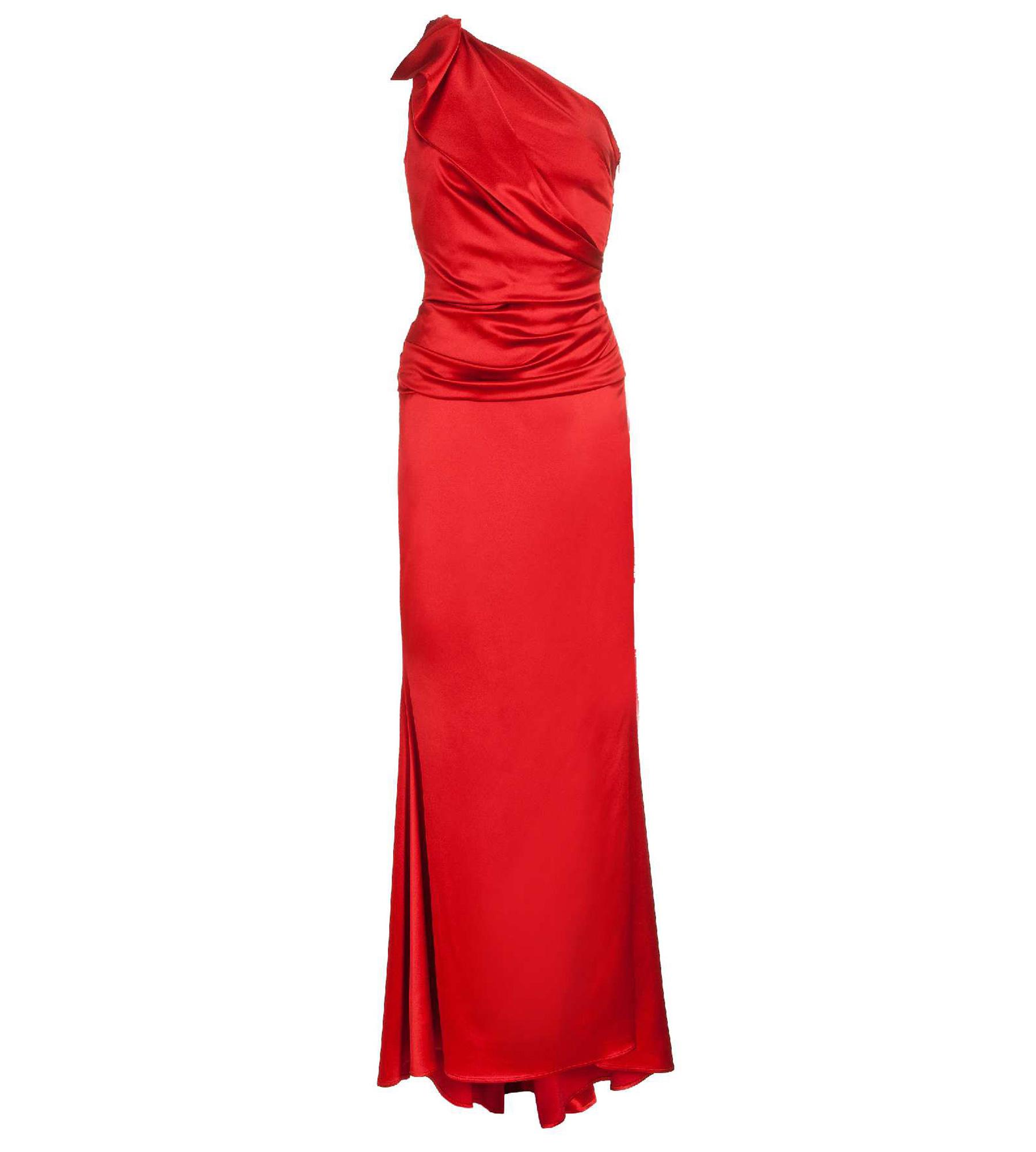 asymmetrisches kleid in rot