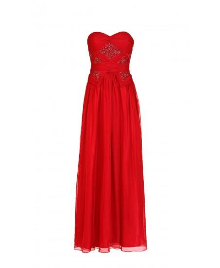 Drapiertes bodenlanges Bustierkleid in Rot