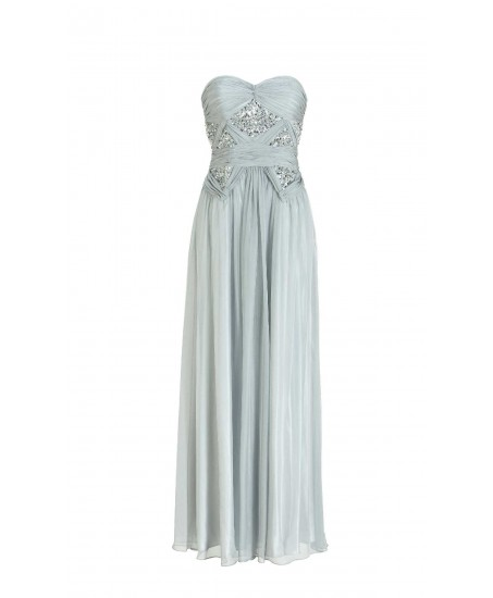 Drapiertes bodenlanges Bustierkleid in Silber