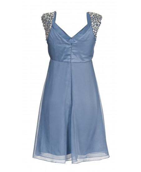 Minikleid mit Schmucksteinen in Blau