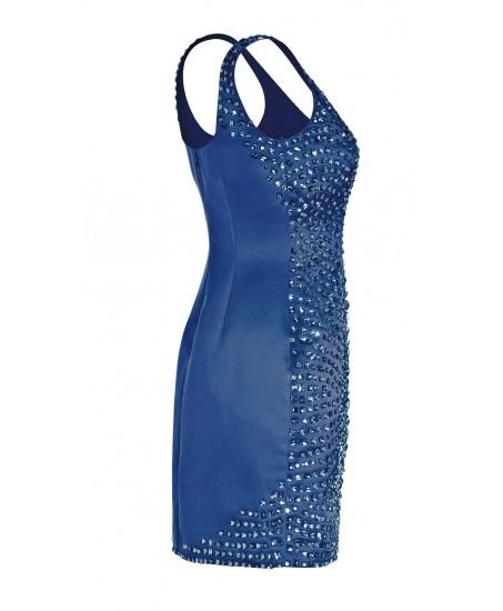 Minikleid mit funkelnden Ziersteinen in Blau