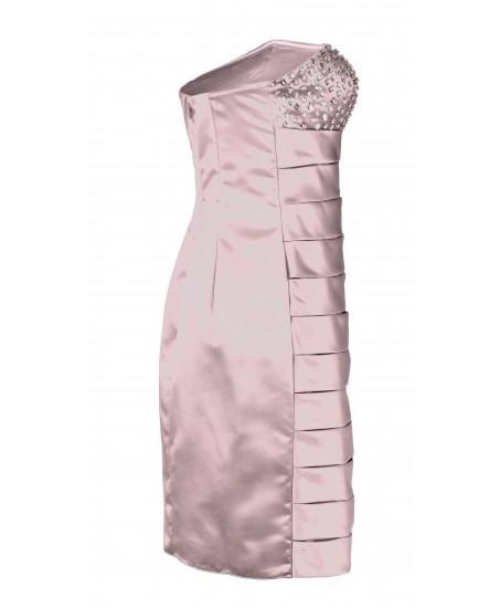 Besticktes Bandeau-Kleid in Rosa