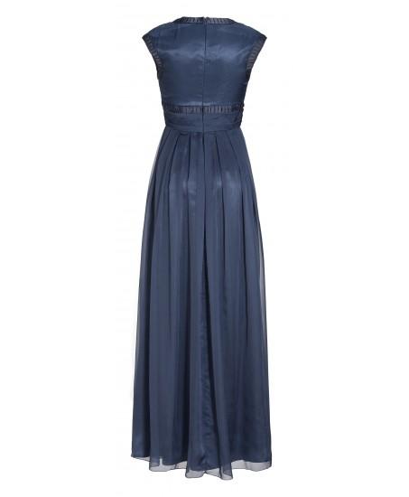 Abendkleid mit Zierbändern in Blau