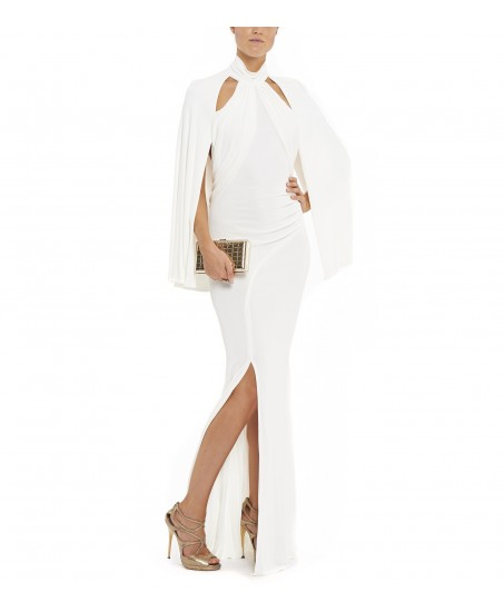 Jersey-Abendrobe mit Cut-Outs in Weiss