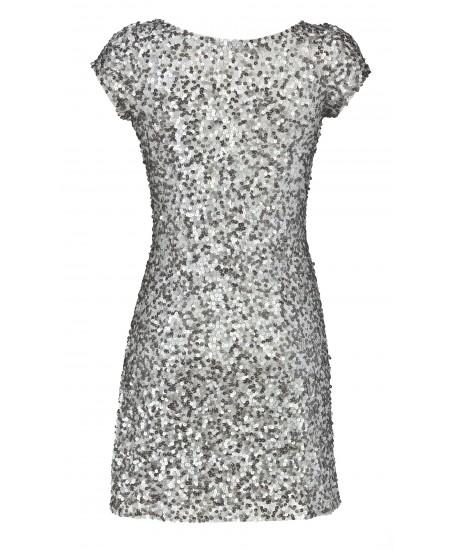 Minikleid aus Paillettenstoff in Silber