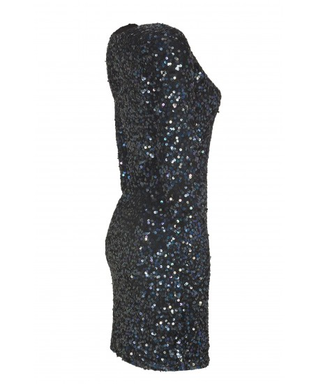 Pailletten-Minikleid mit 3/4 Arm in Schwarz