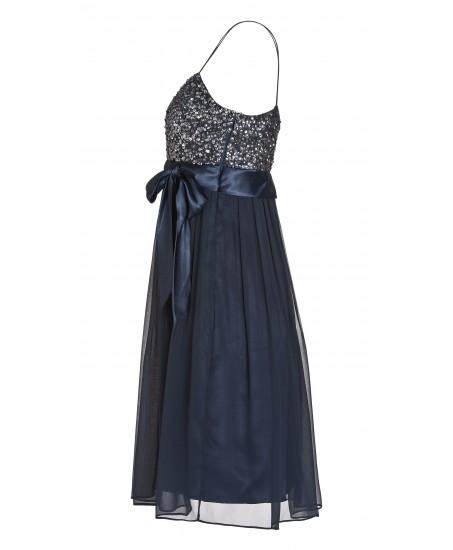 Trägerkleid mit Schleife in Blau