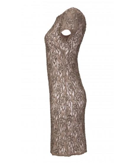 Spitzen-Etuikleid mit Perlen in Braun