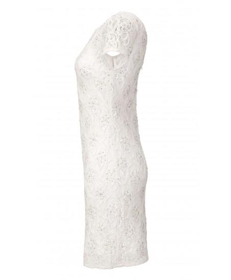 Spitzen-Etuikleid mit Perlen in Weiss