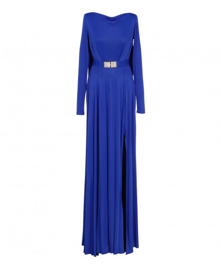 Bodenlanges royalblaues Stretchkleid