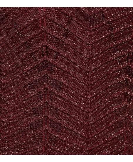 Bordeauxfarbenes Kleid mit metallisiertem Garn