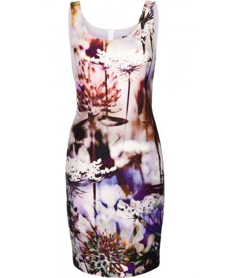 Bedrucktes Blumen-Etuikleid