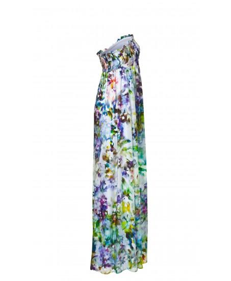 Gerafftes Bandeau-Maxikleid mit Blumenmuster