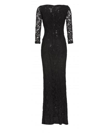 Abendkleid aus Spitze mit Pailletten in Schwarz