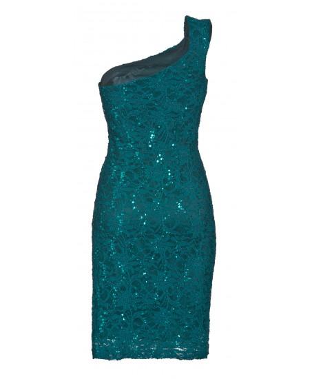 Asymmetrisches Kleid mit Pailletten in Türkis