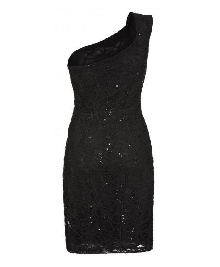 Asymmetrisches Kleid mit Pailletten in Schwarz