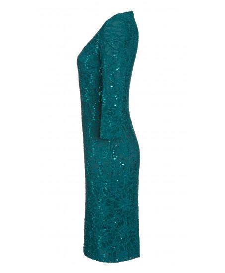 Minikleid aus Spitze mit Pailletten in Türkis