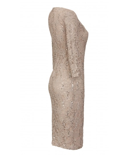 Minikleid aus Spitze mit Pailletten in Beige