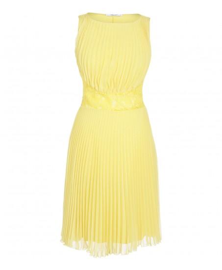 Plissiertes Kleid mit Spitzeneinsätzen