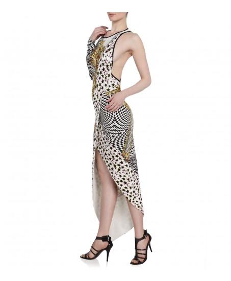 Asymmetrisches Kleid mit Muster