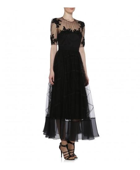 Edles Spitzen-Abendkleid in schwarz mit Bestickung