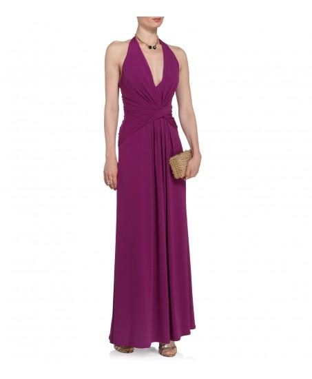 Lilafarbenes Abendkleid mit Drapierung