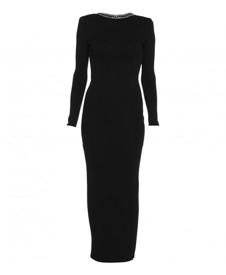 Schwarzes Kleid mit Kettenapplikation