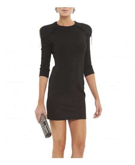 Schwarzes Minikleid mit Nieten