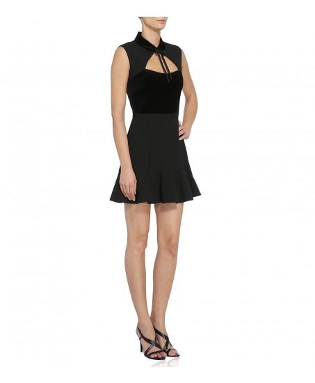 Schwarzes Kleid mit Samt-Bustier