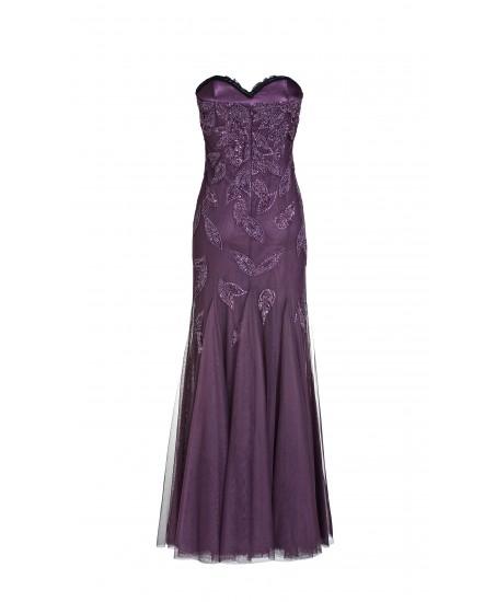Langes Bustierkleid mit Blätterstickerei aus Tüll in Violett