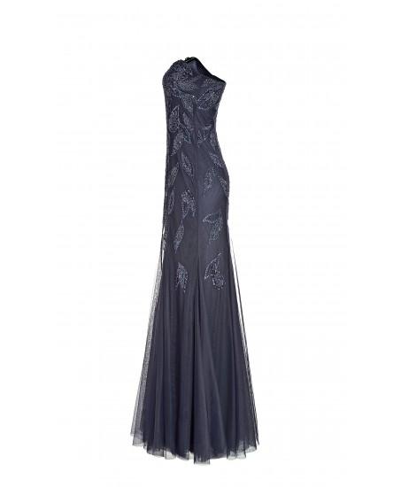 Langes Bustierkleid mit Blätterstickerei aus Tüll in Blau