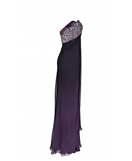 Kleid mit besticktem Bustier in Lila