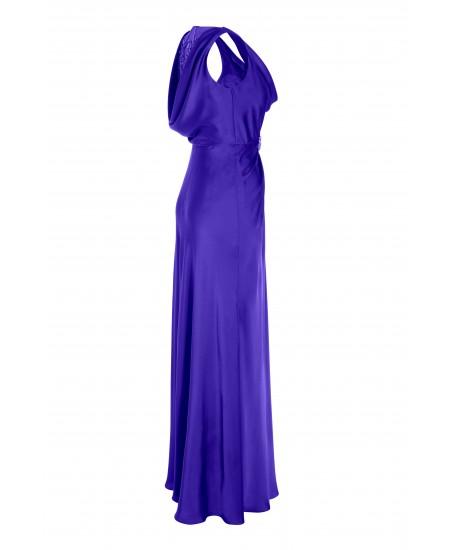 Robe mit transparentem Rückendekolleté in Blau
