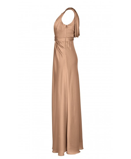 Geraffte Abendrobe mit Applikationen in Beige