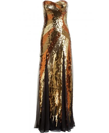 Bodenlanges Bustierkleid mit Pailletten in Gold
