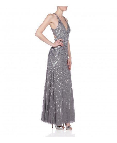Maxikleid aus Pailletten mit Rückendekolleté in Silber