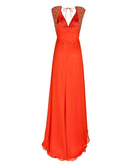 Gerafftes Maxikleid mit Schleppe in Orange