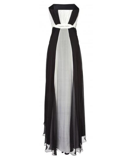 Drapiertes Bustierkleid in Schwarz-Weiß