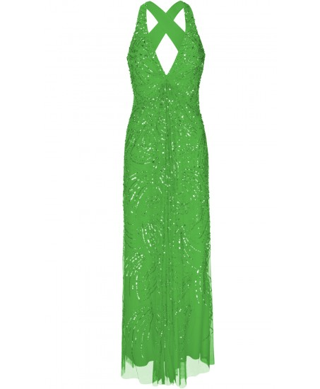 Maxikleid aus besticktem Tüll in Grün