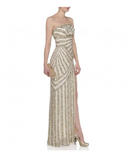 Gestreiftes Bustierkleid mit Pailletten in Gold