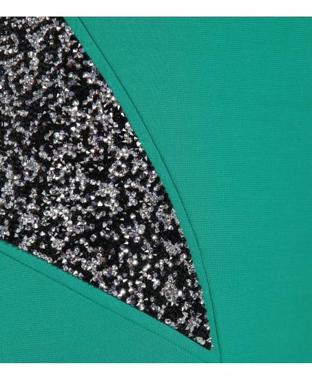 Kleid in Grün mit Swarovski Applikationen