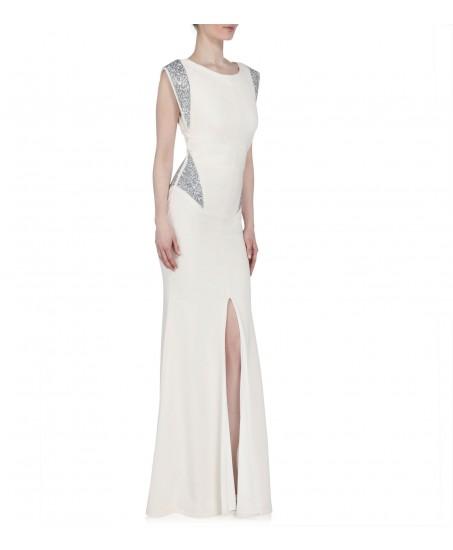 Kleid in Weiss mit Swarovski Applikationen