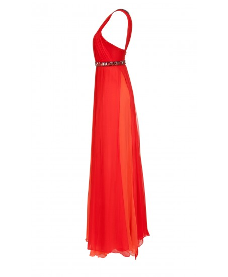 Asymmetrisches Seiden-Maxikleid in Orange