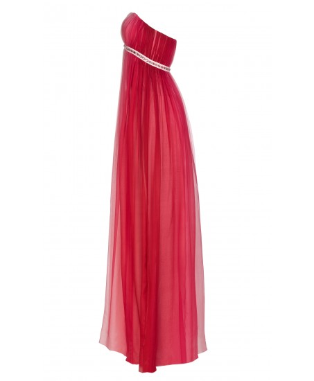 Bustier-Maxikleid aus Seide mit Farbverlauf in Rosé