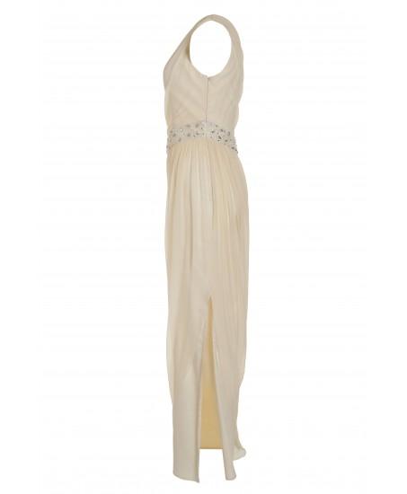 Asymmetrisches Toga-Kleid in Weiß