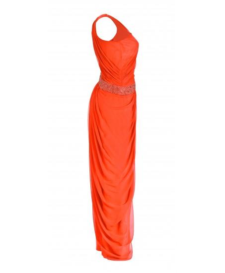 Asymmetrisches Toga-Kleid in Orange