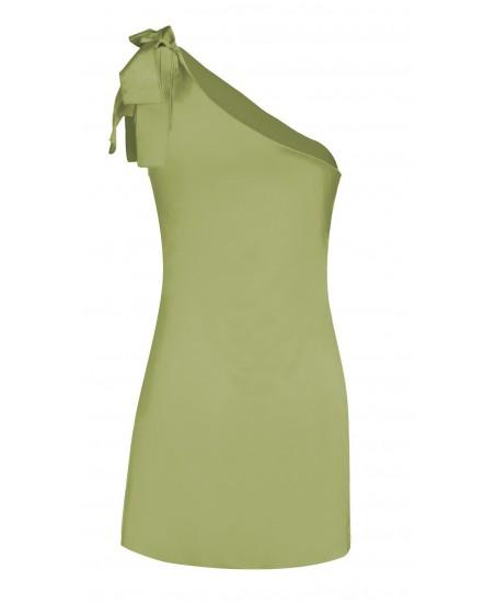 Asymmetrisches Minikleid mit Zierschleife in Grün