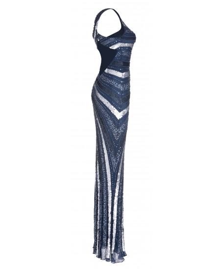 Asymmetrisches Abendkleid in Blau