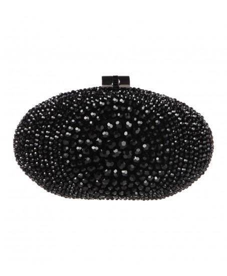 Clutch mit glänzenden Perlen in Schwarz