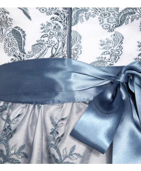 Dirndl Valentina in Blau mit Druck